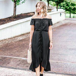 LOFT Off-the-Shoulder Black Mid Dress